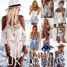 929ebb4feaa1 UK Womens Holiday Mini Playsuit Ladies Jumpsuit Summer Beach Dress ...