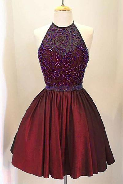 Burgundy Short Beaded A Line Halter Prom Dress Sequins
