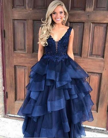 f90b5ec3bb Dark blue v neck tulle lace long prom gown