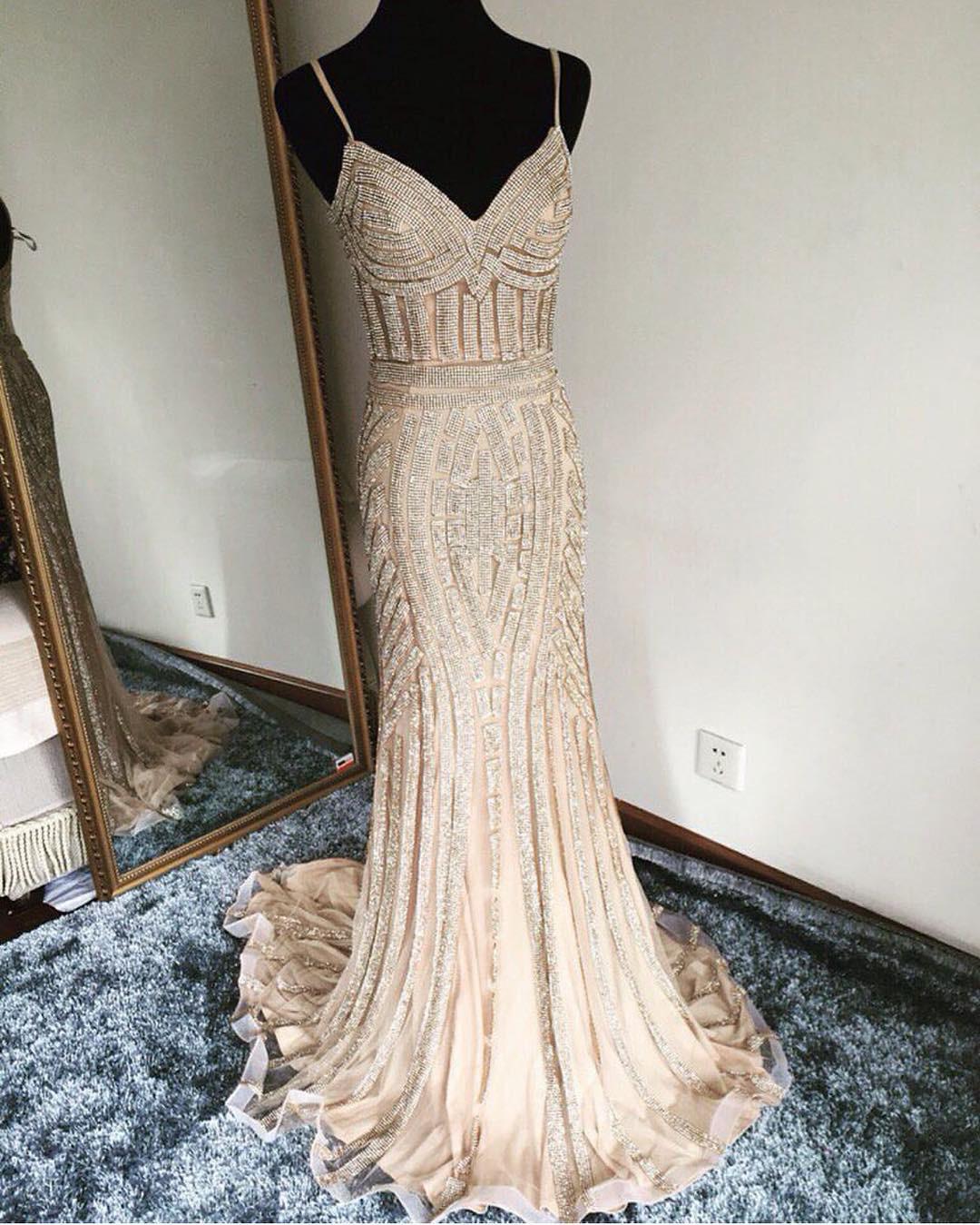 champagne prom dress,mermaid prom dress,mermaid evening dress,gold ...