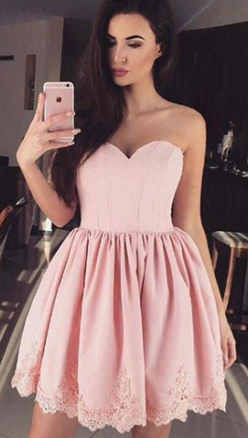 05eb97342701 High Quality Sweetheart Dust Pink Prom Dress Homecoming Dress,Short Prom  Dress, Knee Length