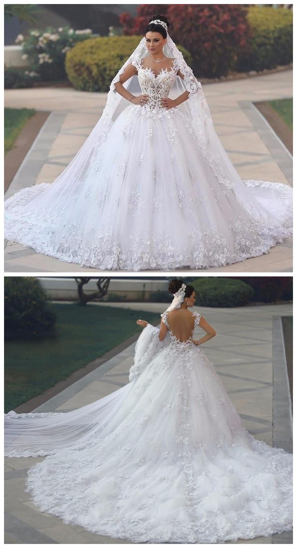 Vestidos De Novia Sexy See Through Bodice Wedding Dress