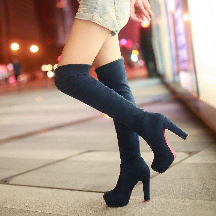 check out aa72d 9abbf women shoes Red Bottom Suede Womens Thigh High Boots Platform Chunky Thick  Heels Sexy Fashion Over sold by Eoooh❣❣