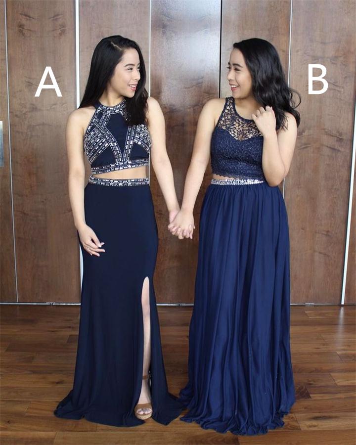 Two Pieces Prom Dresses,Prom Dress,Prom Dresses,Navy Blue