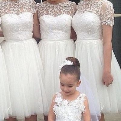 Short bridesmaid dresses scoop short sleeve backless knee-length applique a-line  junior bridesmaids 01c3a68d434e