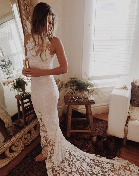 High Quality White Lace Mermaid Wedding Dresses Bridal GownsHot Sales Cheap Beach