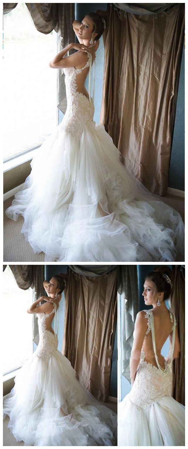 Glamorous Pearls Mermaid Wedding Dress Tulle Lace bridal dresses ...