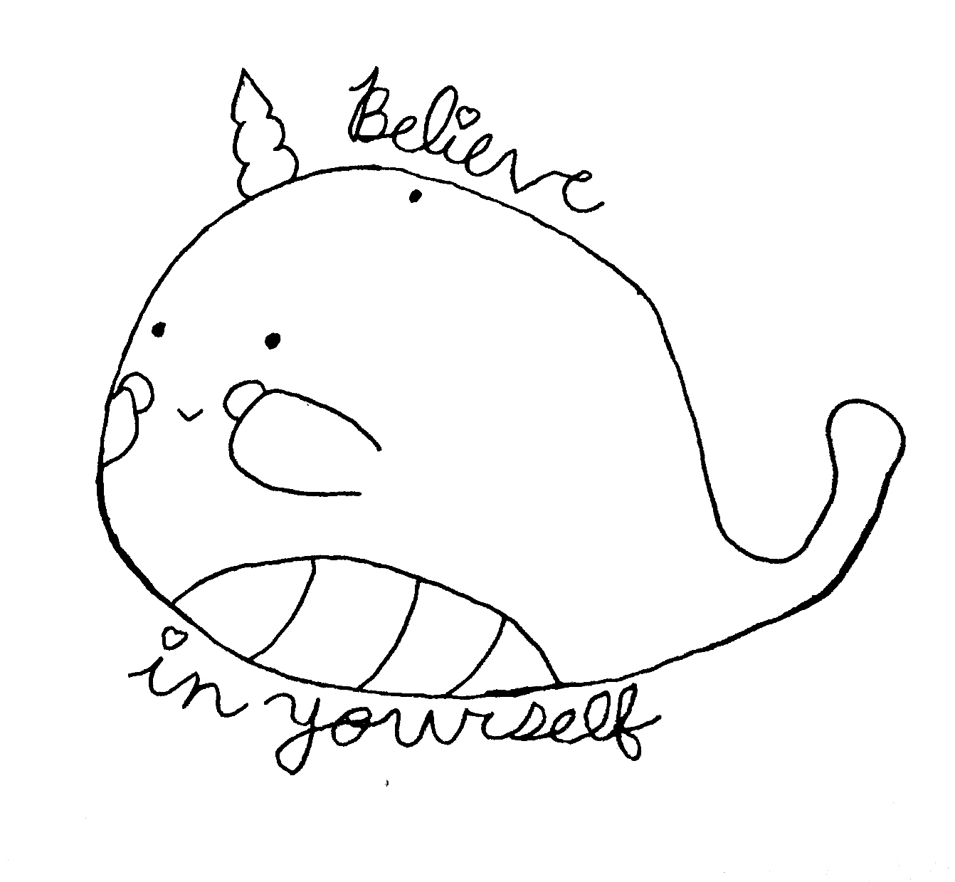 Believe in yourself narwhal coloring page