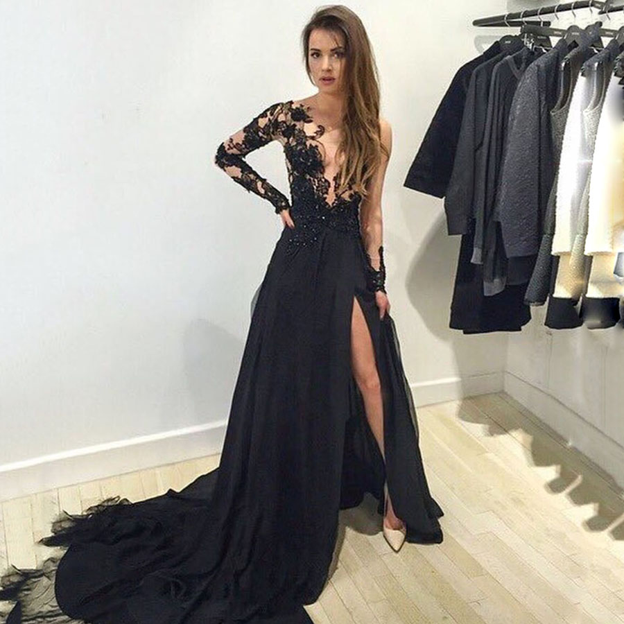 Black Long Sleeve Prom Dresses, Scoop Neck Tulle Long Formal Dresses ...