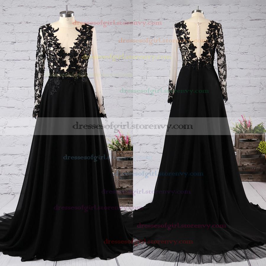 Black Long Sleeve Prom Dresses, Scoop Neck Tulle Long Formal Dresses ...