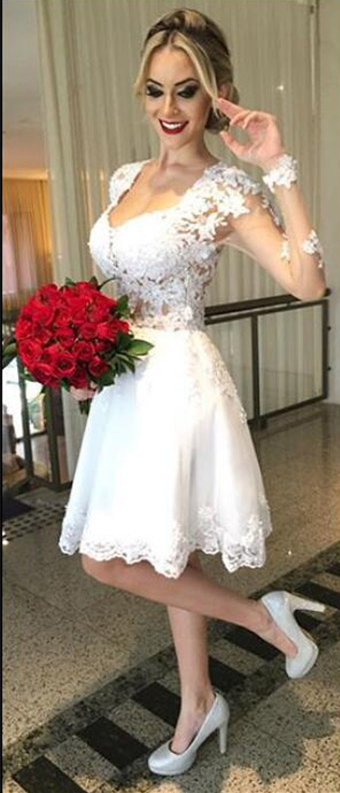 Lace Bridal Dress with Long Sleeve,Short Wedding Dress,Beautiful Prom  Dress,JD 271 from June Bridal