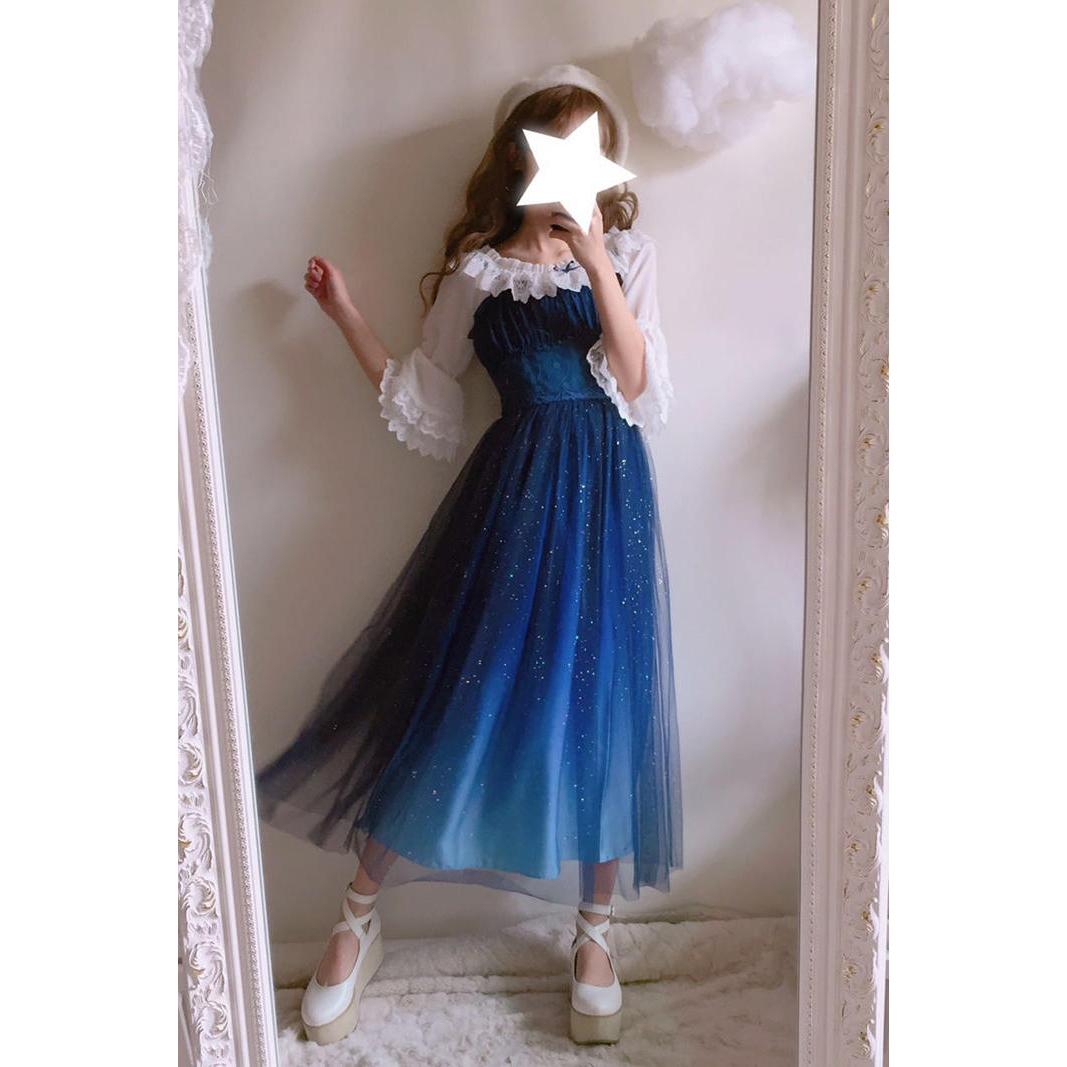 e10830dada8 Gradient Galaxy Gauze Dress Fairy Starry Night Doll Gown DC455 · The ...