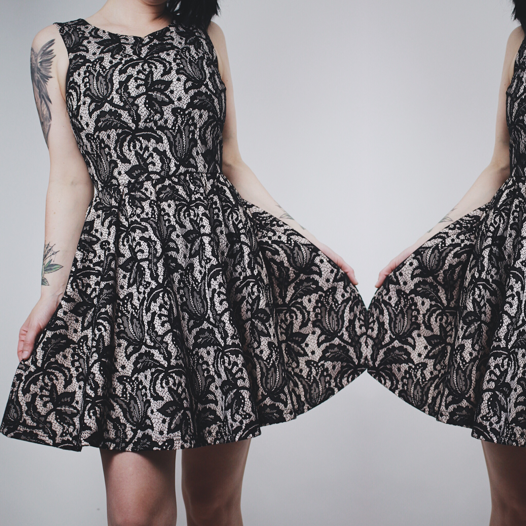 Available 50s Inspired Black And Blush Lace Pinup Day Dress From Last Rites