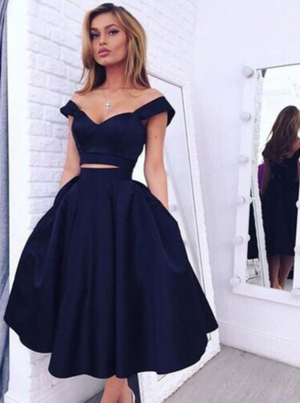 Two Pieces Off-the-Shoulder Navy Blue Short Homecoming Dresses ...
