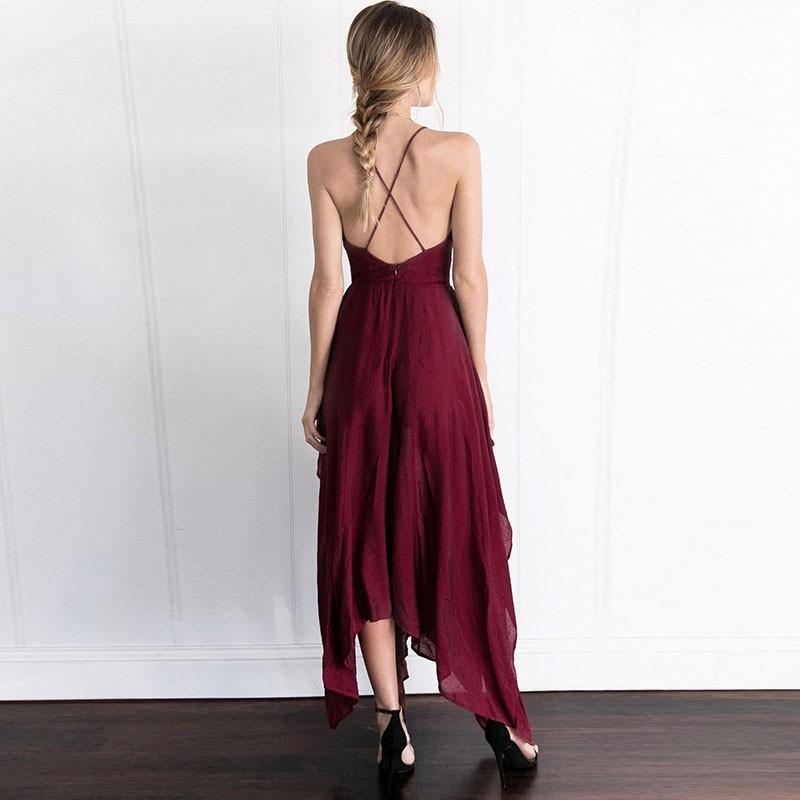 95e6cf3d296f Cheap A-Line Spaghetti Straps Deep V-Neck Burgundy Chiffon Prom Dress with  Split ...