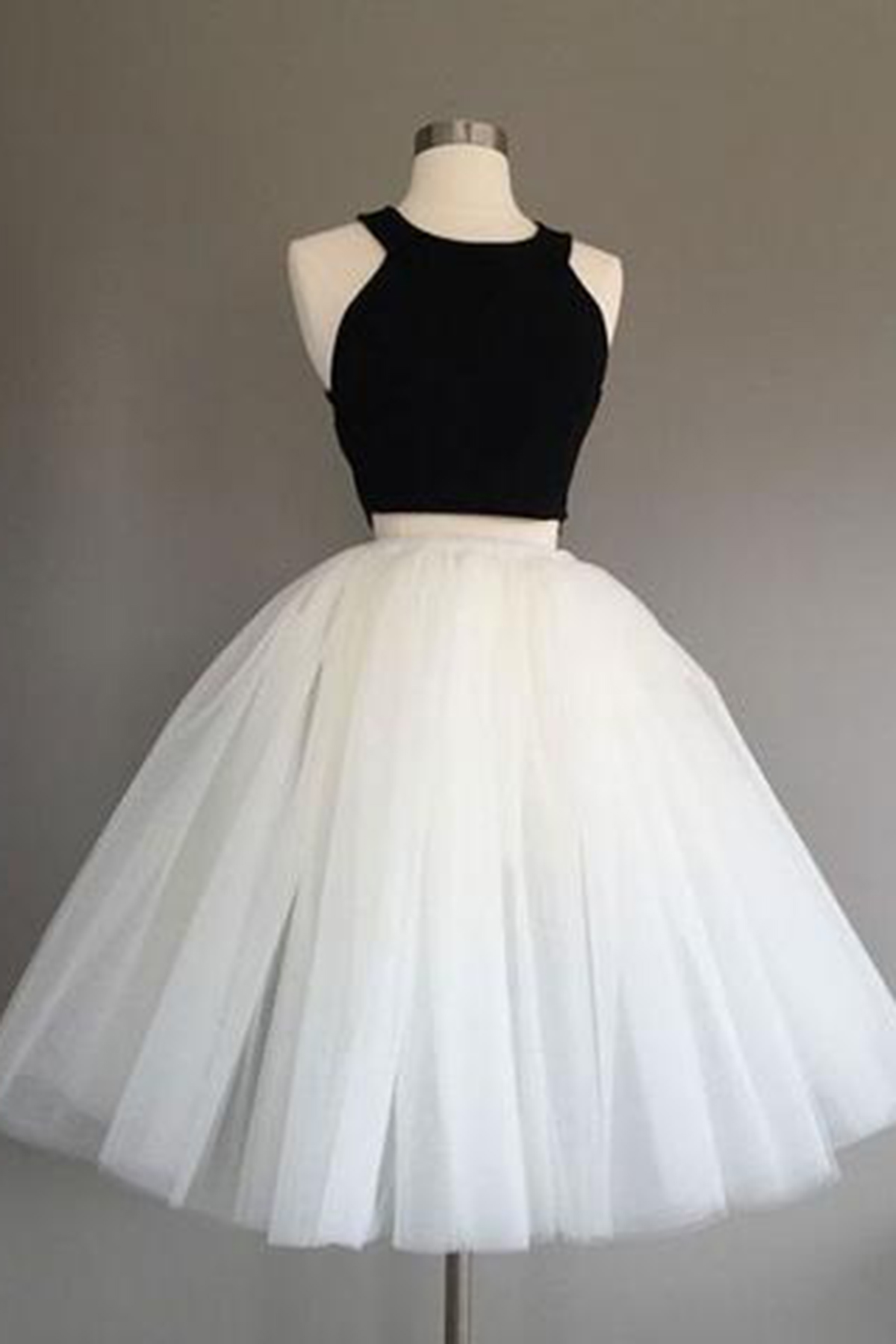 418be0cb8194 Simple two pieces black and white short prom dress, homecoming dress ...