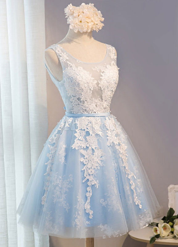 7a0aa94bf8 Light Sky Blue Tulle Homecoming Dresses with White Lace Appqliues on  Storenvy