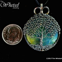 Blue Yellow Orgone Sterling Silver Tree Of Life Pendant