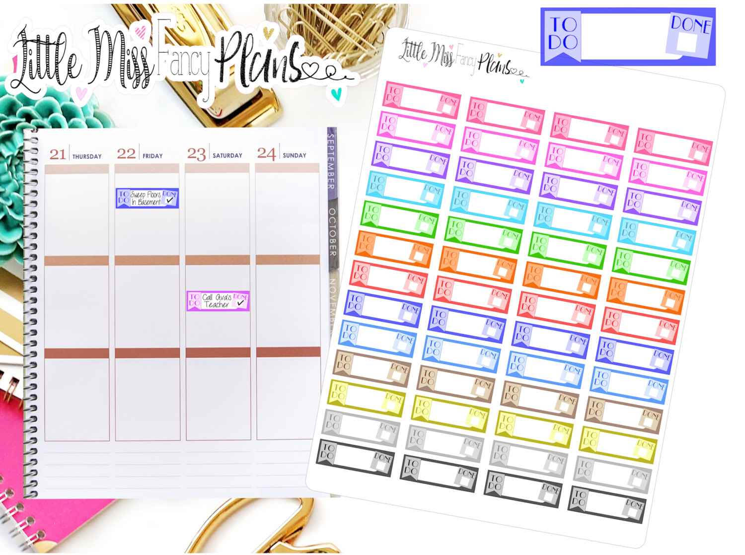 To Do/Done Stickers | Erin Condren, Happy Planner Stickers, Personal  Planner from Little Miss Fancy Plans