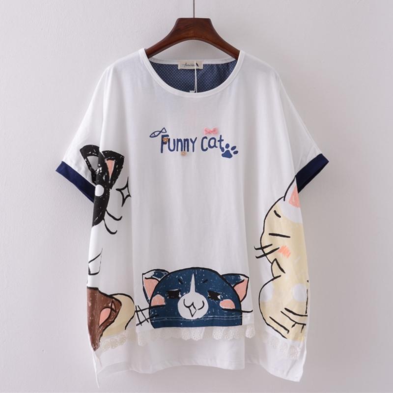 1780110cd 2017 Japan Cute Funny Cat Short Tees Bat Sleeve Plus Size DC462 ...