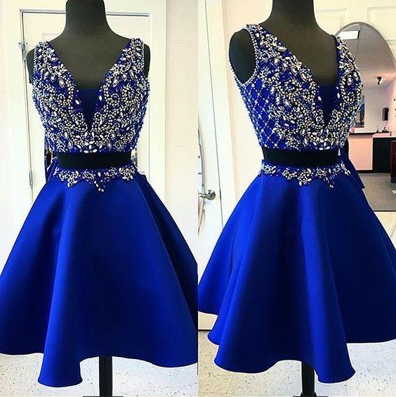 Royal Blue Homecoming Dressesbeading Bodice Homecoming Dresses