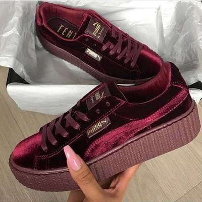 0a0ccb34fc8949 Puma by rihanna fenty women s creepers velvet purple burgundy shoes