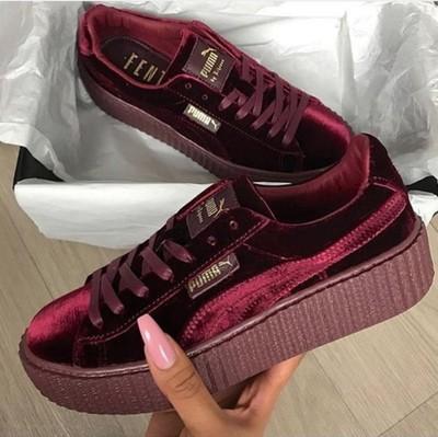 8a237b6988d43e Puma by Rihanna Fenty Women s Creepers Velvet Purple Burgundy Shoes ...