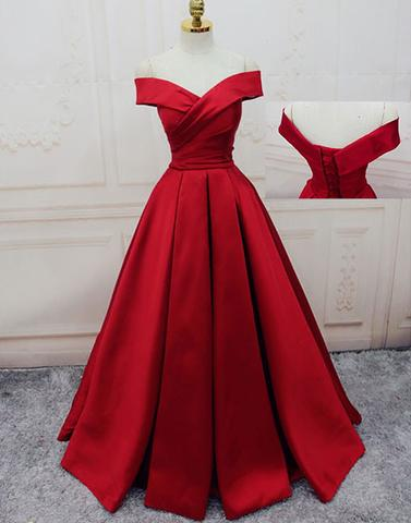 7c3ce05ac001 Custom made red off shoulder long prom dress
