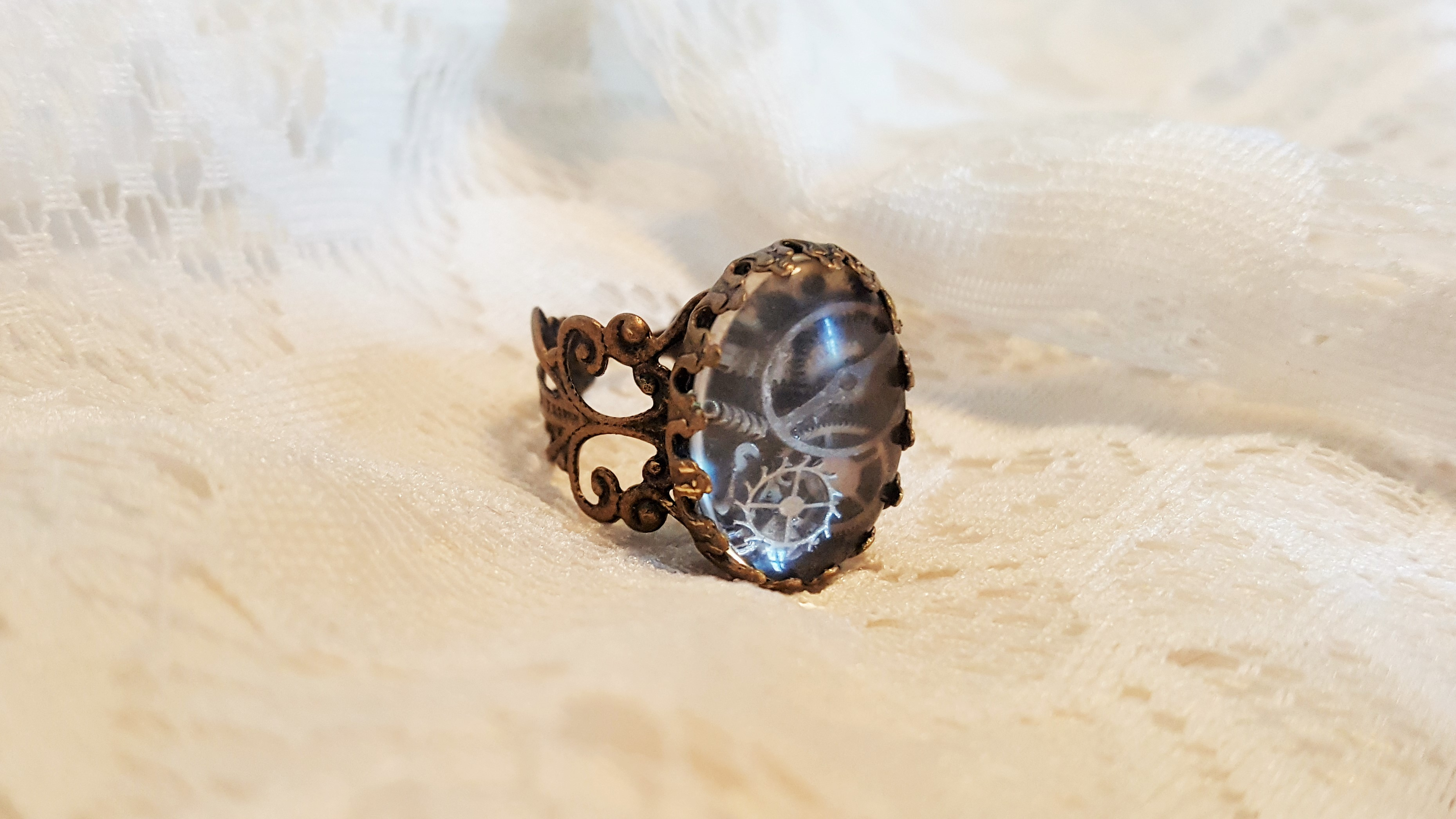 Steampunk ring bronze with clock parts from Missy's Unicorns