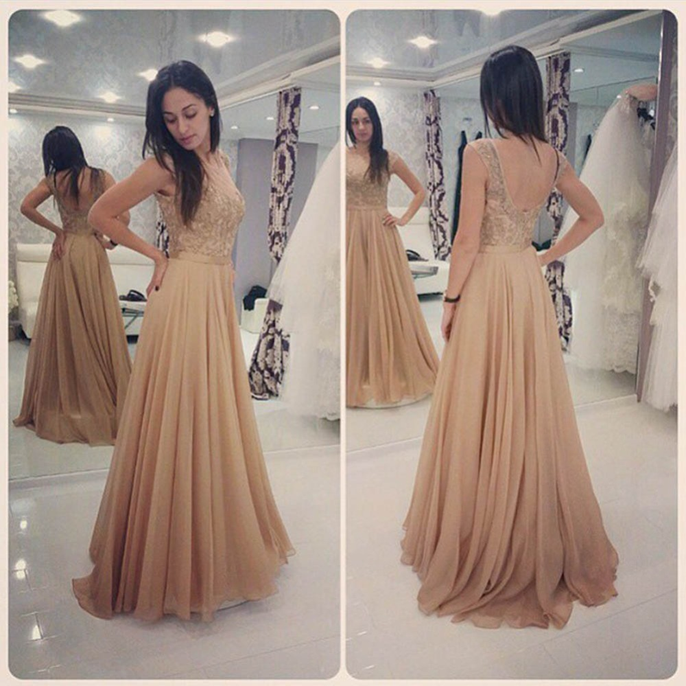 Glamorous Long Champagne Lace Prom Dresses Party Evening Gown Beaded ...