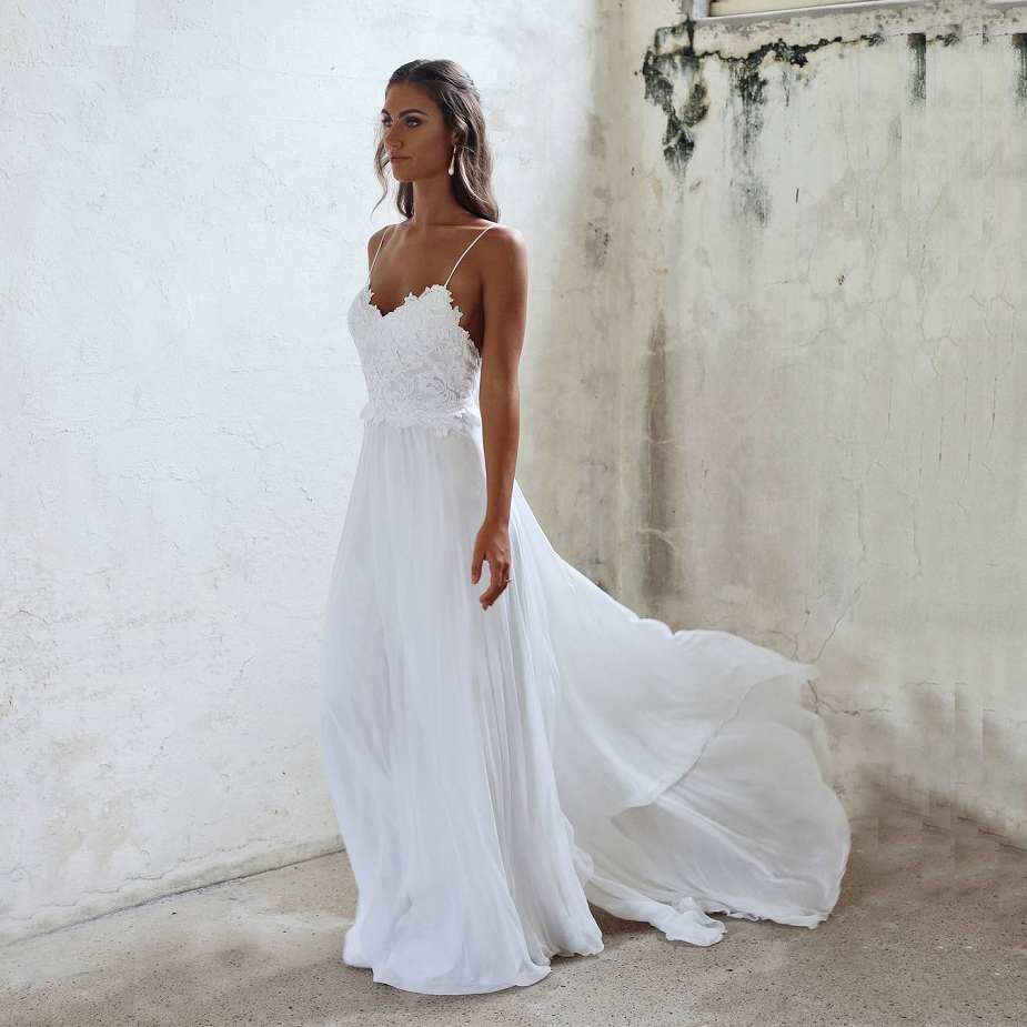 Beautiful Wedding Dresses,A Line Lace Spaghetti Straps