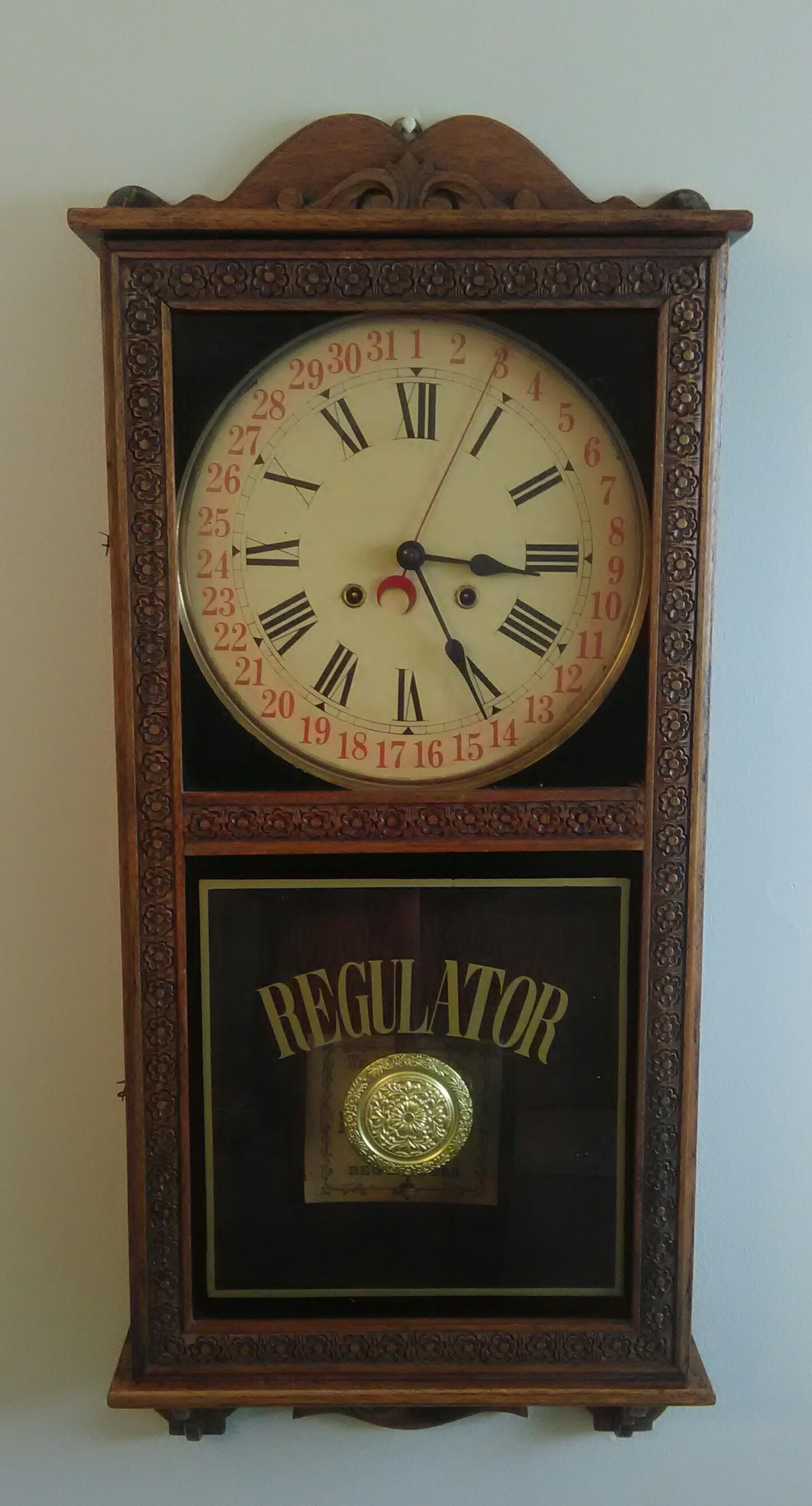 Vintage Regulator Wall Clock Wm L Gilbert Amp Co 8 Day And