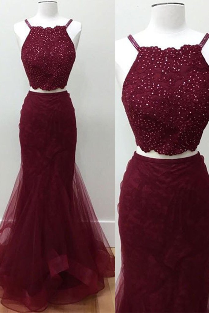 293ab1b45e Crimson 20tulle 20two 20pieces 20sequins 20long 20dress 2cgraduation  20dress 20for 20teens original