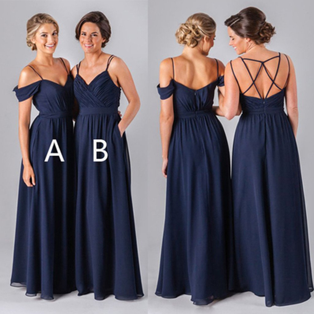 Chiffon Navy Blue Formal Cheap Sexy