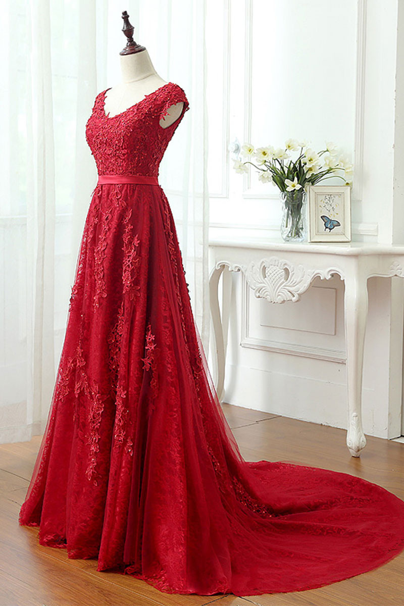 A Line Long Tulle Lace Formal Red Prom Dress,Long Red Lace Evening ...