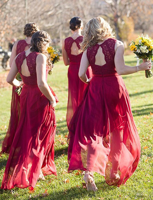 Sexy Red Wedding Party Dress Lace Bridesmaid Dress Red Chiffon
