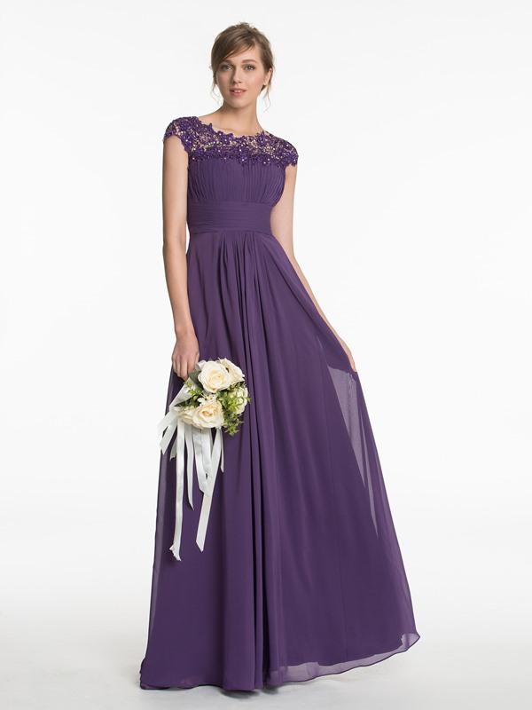 45b31cb50a9 Long Purple Lace Chiffon Prom Evening Dresses Bridesmaid Dresses 197 ...