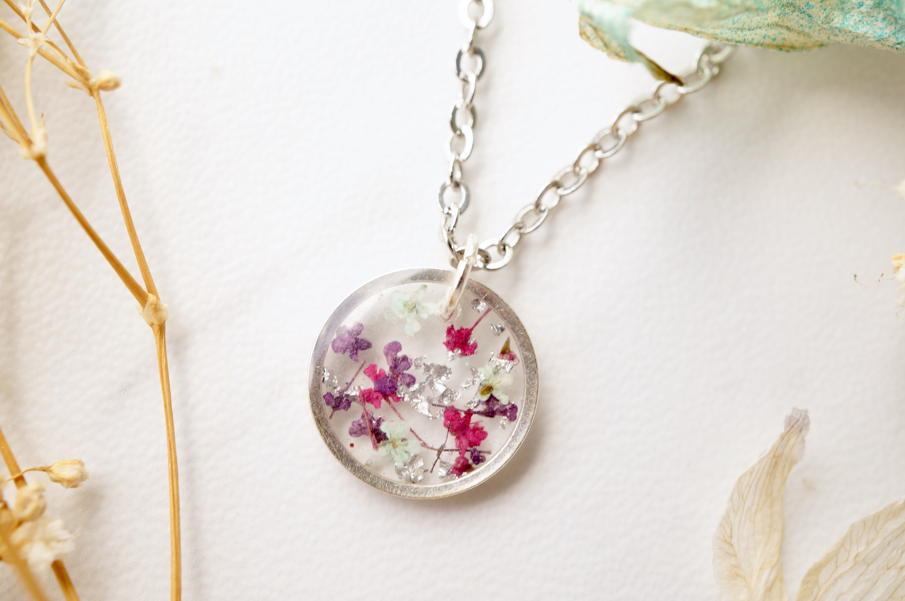 Small floral resin pendant necklace