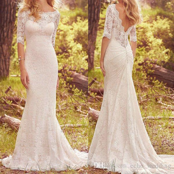 Lace Country Wedding Dress With Half Sleeves Vintage Boho Bohemian Wedding Dresses Bridal Gowns Sold By Prom Dress Shop