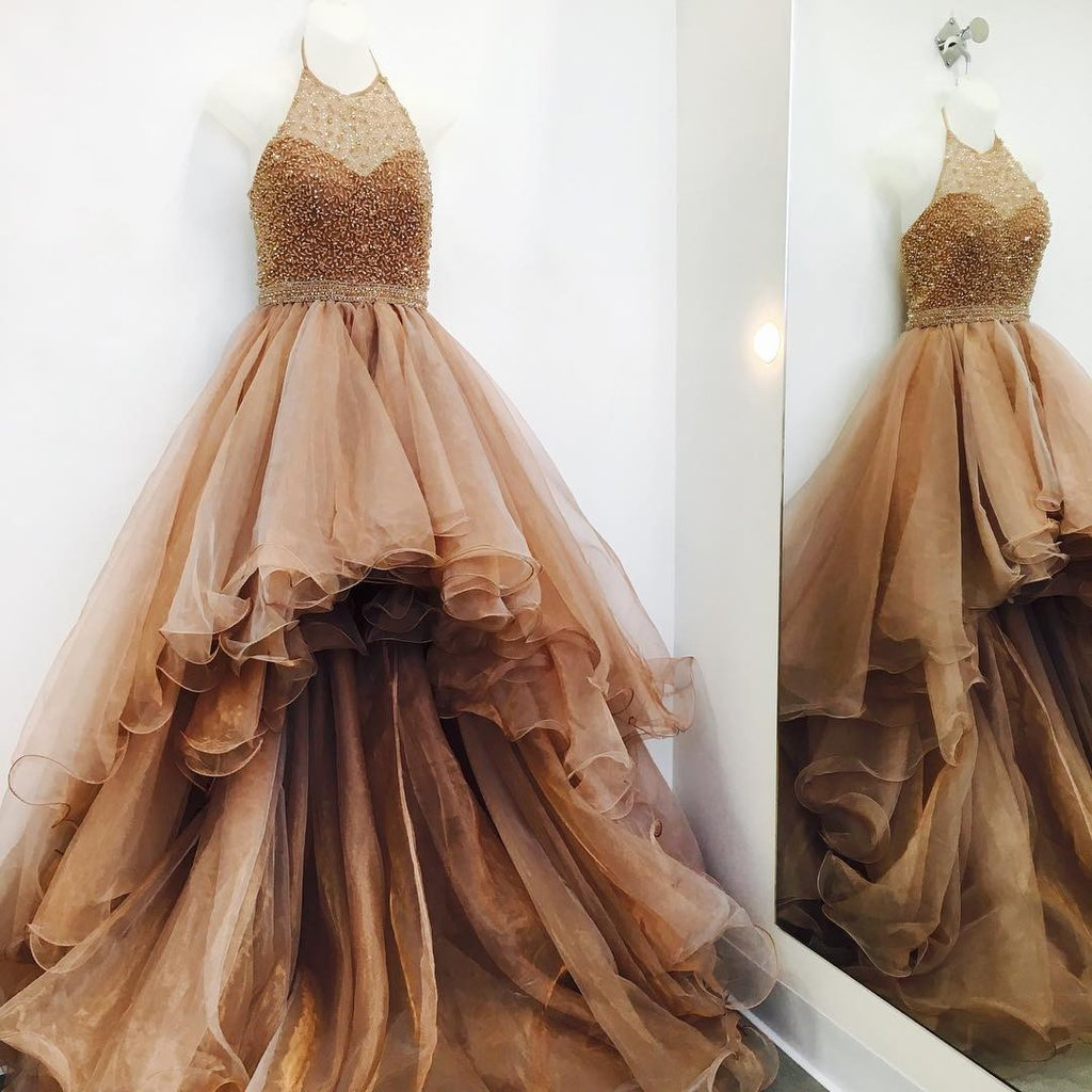 ce0f48e59a1 Halter Beading Champagne Organza Crystal Long Prom Dress