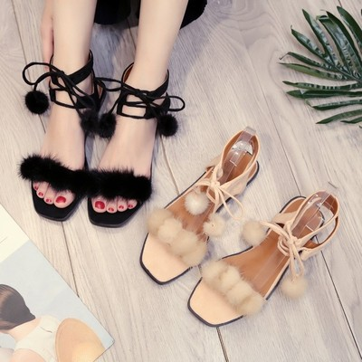Meili black exposed toe hair ball flat sandals fashion crossed strap fish mouth shoes