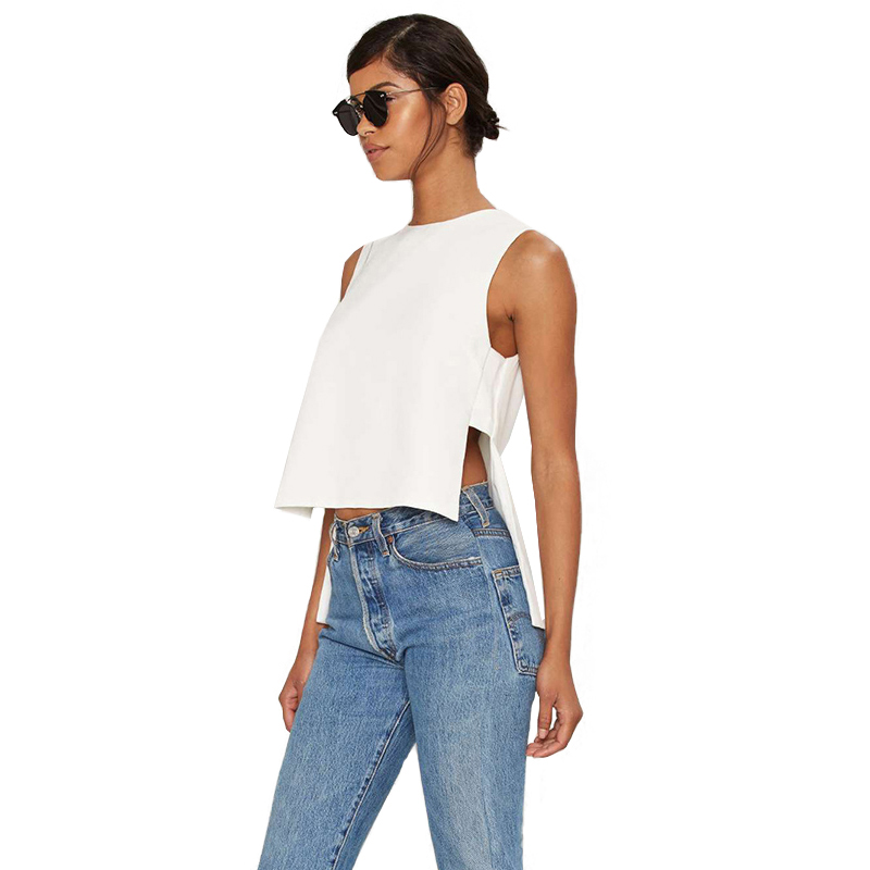 3bc6cd867d SUPER DISCOUNT White Solid Women Tops Tees OL High Low Side Cut Out O-neck  Sleeveless Pullovers Vests for Officelady T-shirts on Storenvy