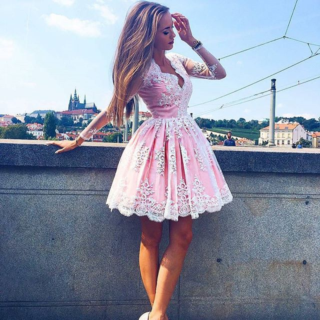 2c1ce98a571b A Line Pink V-neck Lace Short Homecoming Dresses with Long Sleeves ...