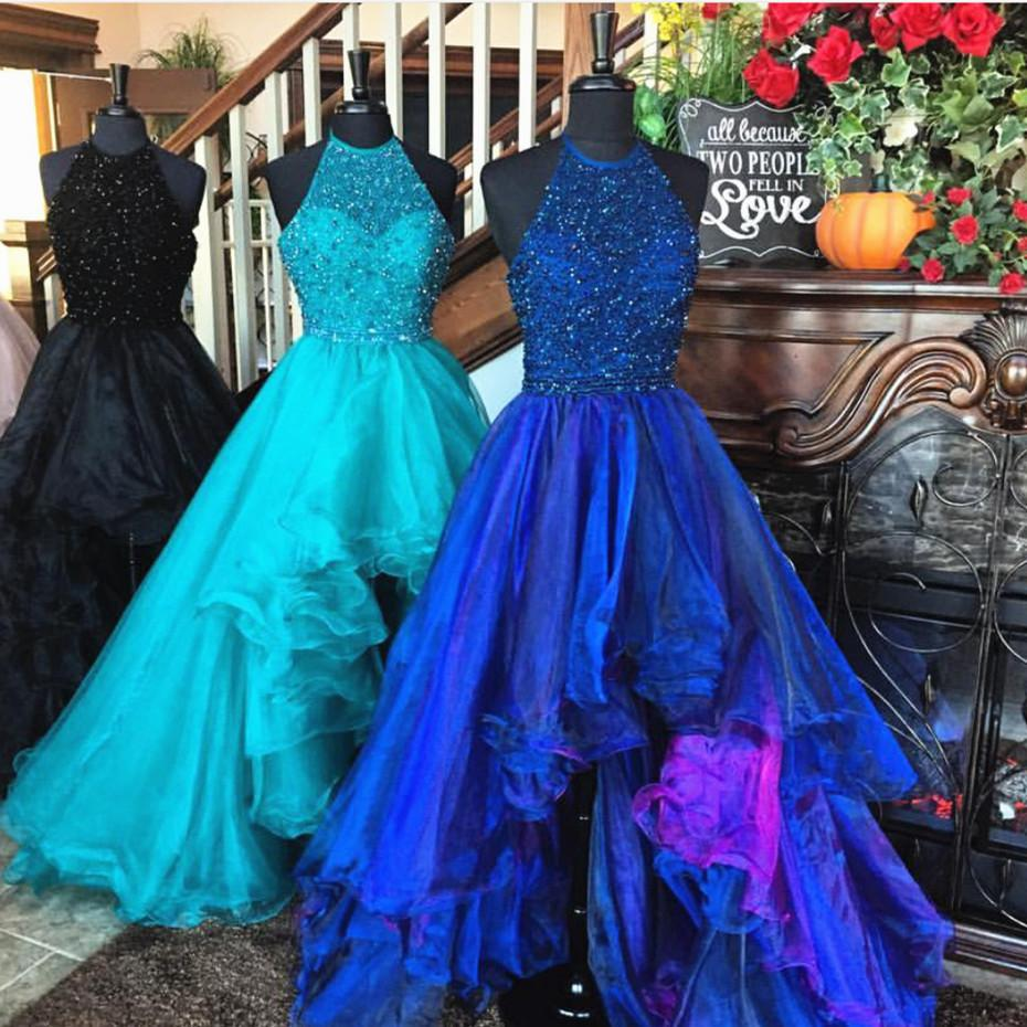 6a989dc7e512 Sparkly 20beading 20halter 20organza 20ruffles 20front 20short 20long  20back 20prom 20dresses 202017 original
