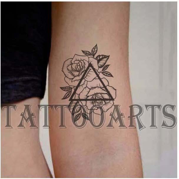 6fa6b339931ff Set of 2 geometric triangle rose design temporary tattoo body art sticker  on Storenvy