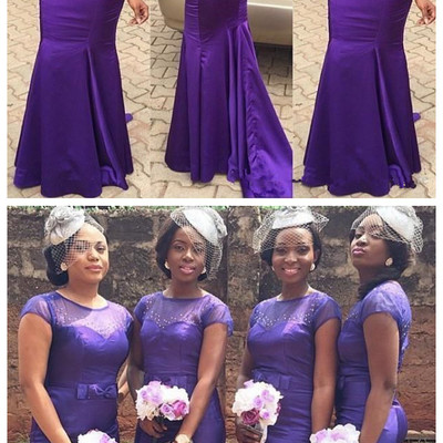 New purple african aso-ebi satin mermaid long bridesmaid dresses sheer  short sleeves beaded party 9c3699eb252a