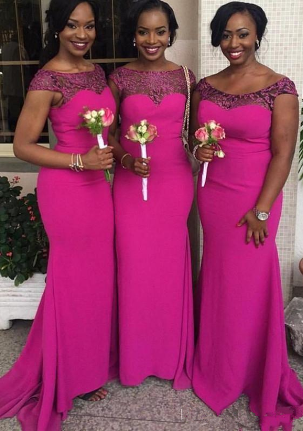 50c5ba928271 Fuchsia Custom Made New South African Mermaid Bridesmaid Dresses Cap  Sleeves Lace Appliques Maid of Honor