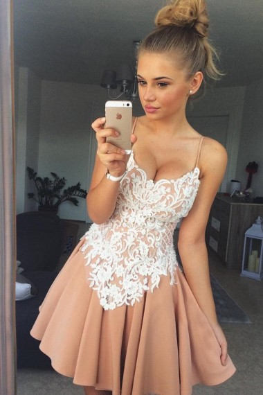 ba8ab6560ac Stylish A-Line Spaghetti Straps Short Satin Homecoming Dress with White Lace  Appliques