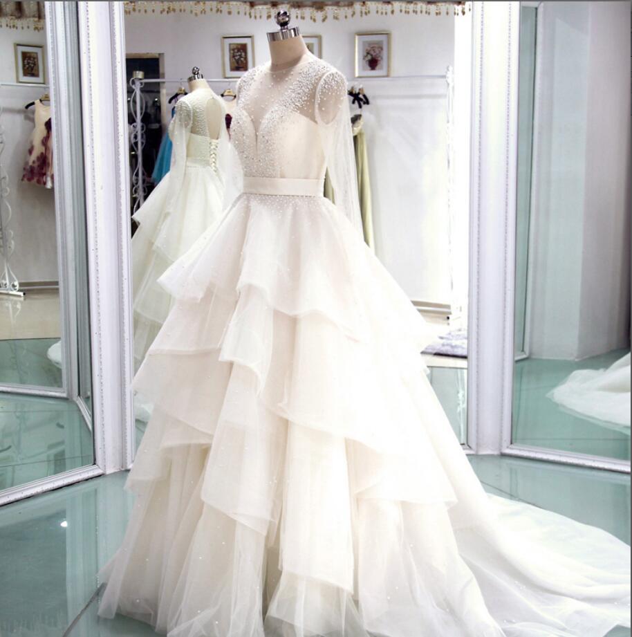 73e33c73e01b8 Long Wedding Dresses,Tiered Wedding Dress,Pearls Wedding Dress.Long Sleeves  Wedding Gown,Sexy Bridal Dresses,Wedding Dress With Pearls from Charming ...