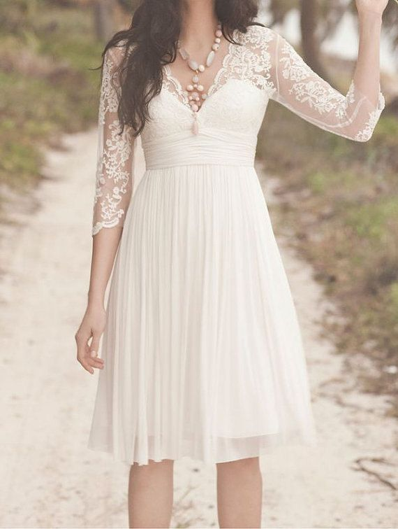 Long sleeve lace white bridesmaid dress,white short bridesmaid dress ...